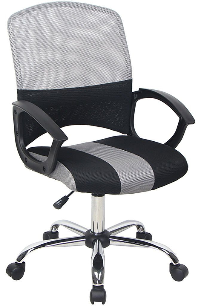 Bonum Mid Back Mesh Task Chair, Gray and Black