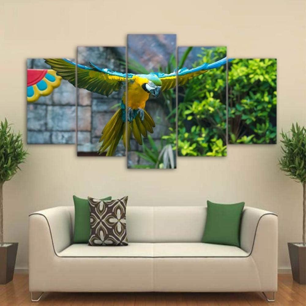 HD impreso 5 piezas lienzo arte loro mascota pintura colorida pluma pájaro pared cuadros para sala de estar pared arte decoración pintura la imagen impresa