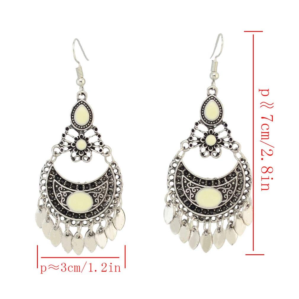 Jinxian Bohemian Tassels Earrings Retro National Palace Style Classical Hollow Carved Eardrop