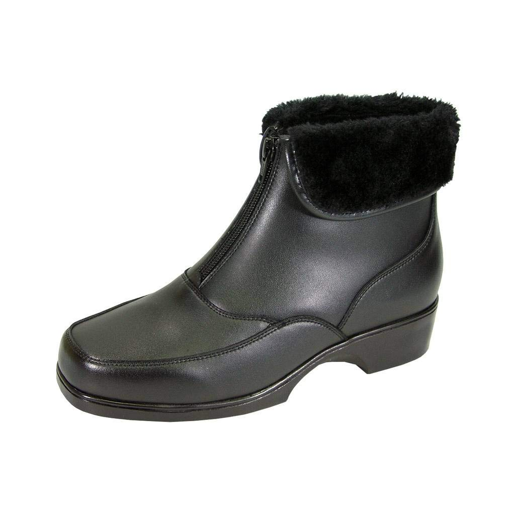 Black Peerage Megan Women Wide Width Water-Resistant Leather Bootie with Fur Lining and Front Zipper Closure