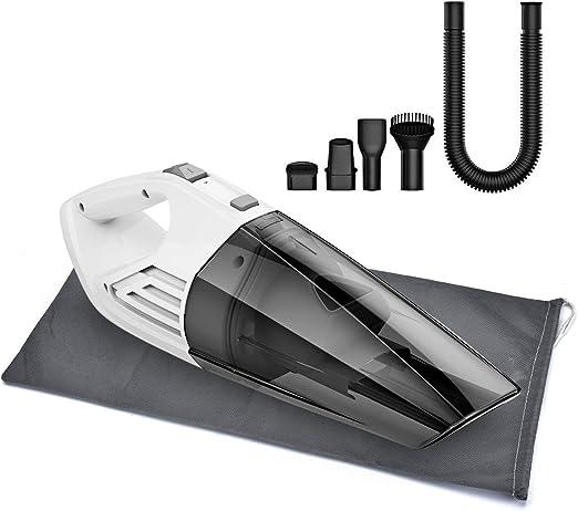 Holife HMHM164ABEU Homasy 6000Pa - Aspiradora de mano sin bolsa (soporte de pared y manguera suave, aspiradora de mano o en seco, batería de ion de litio de 22 min/2200 mAh), plástico: