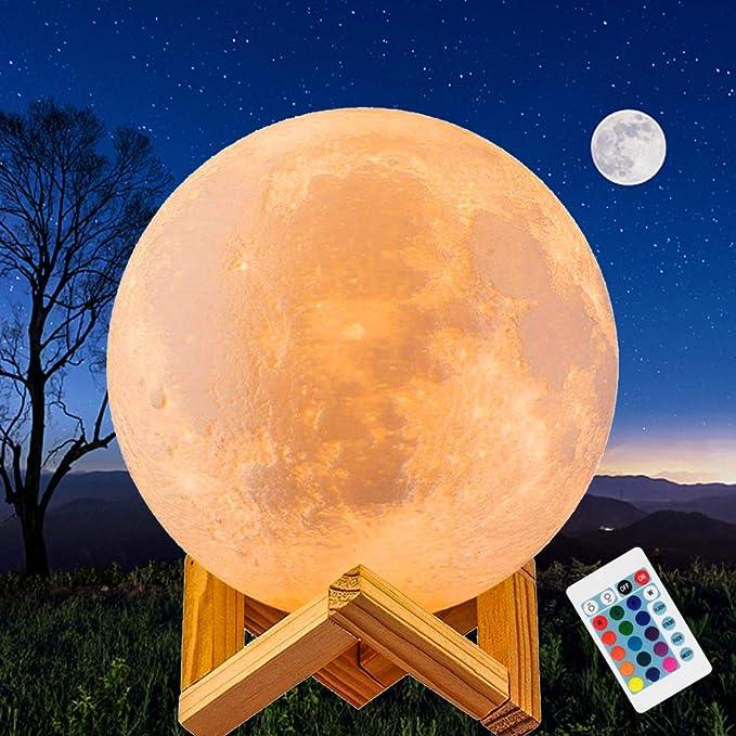 JORLAI Lámpara de Luna de Impresión 3D 16 Colores 5.9 pulgadas ...