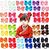 40pcs 20 Pairs 4.5'' Boutique Hair Bows Tie Baby Girls Kids Children Pigtail Bows Rubber Band Ribbon Hair bands
