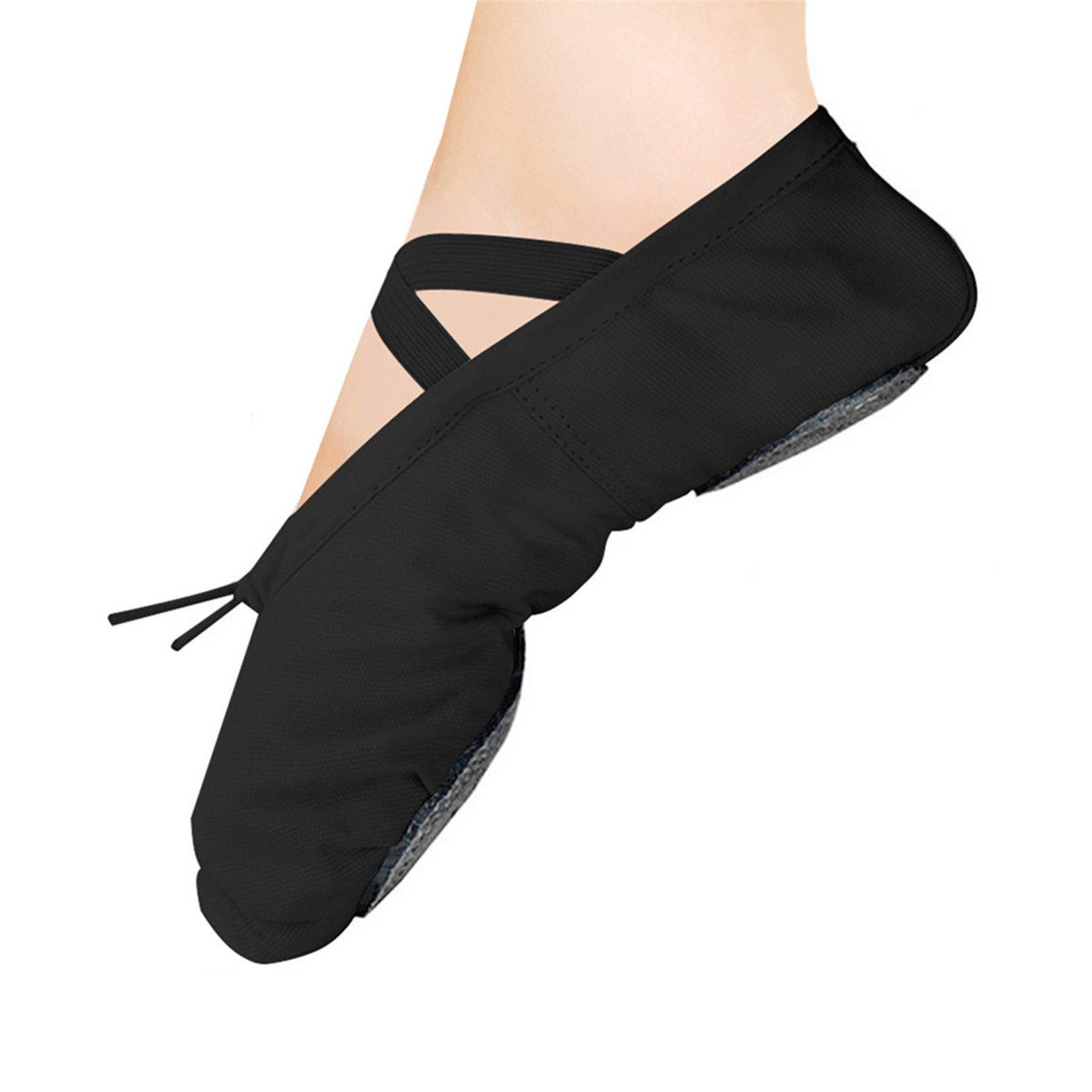 WELOVE Ballet Slipper Shoes Pointe Canvas Split Sole Practice Ballerina Flat (US8.5 for Women, Black)
