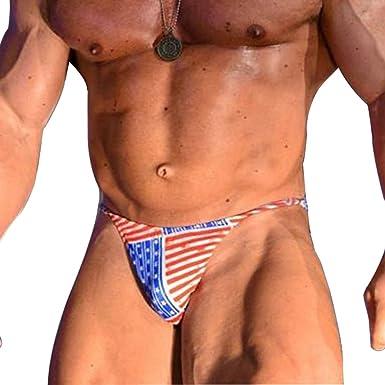 df9898aaf13 MUSCLE ALIVE Mens Underwear Sexy Briefs Thong Bikini Swim Suits Black  Dot-2pcs Color Size