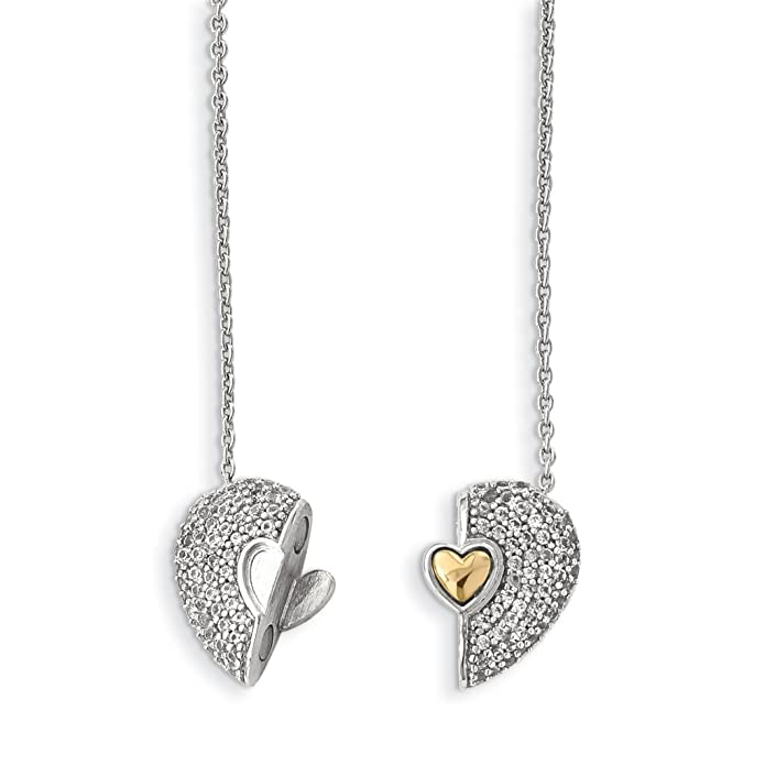 14.8mm 925 Sterling Silver Rhodium Gold and Rose-tone Set Of 3 Hearts Pendant