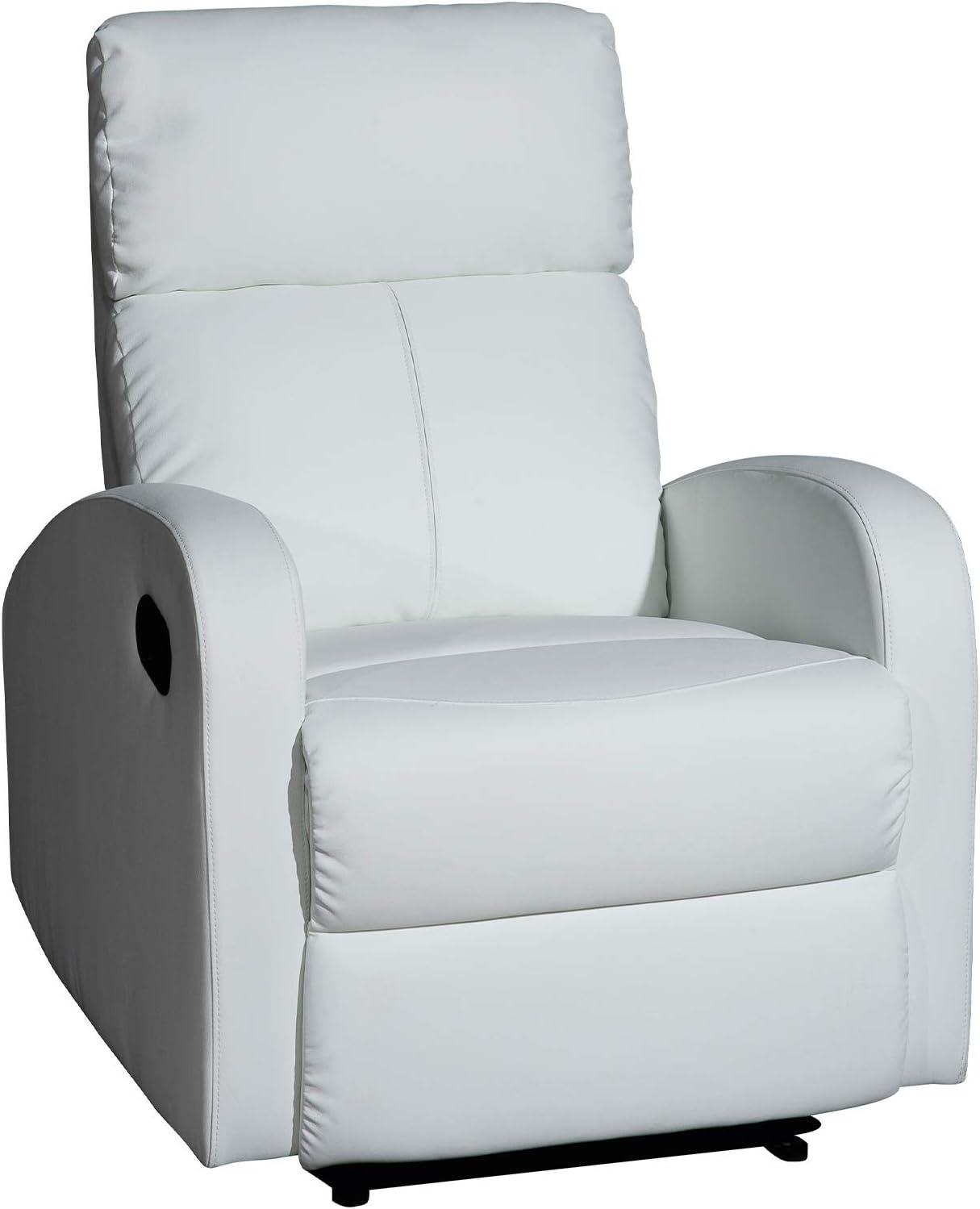Sillón Relax reclinable Med - Modelo TAVIRA - Color Blanco - Material Ecopiel/Metal - Medidas 71 x 93 x 101 cm