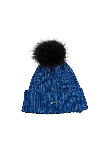 5ff079aa169 EM-EL Bogner Sport Leonie Ski Hat with Finnraccon Fur Pom (Blue Black) at  Amazon Women s Clothing store