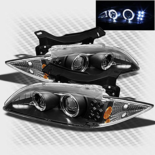 1995-1999 Chevy Cavalier Twin Halo LED Projector Black Headlights Lamp Set Pair Left+Right 1996 1997 1998