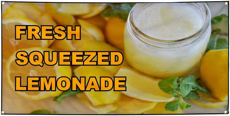 Set of 3 Multiple Sizes Available 24inx60in Vinyl Banner Sign Fresh Squeeze Lemonade Yellow Lemonade Marketing Advertising Yellow 4 Grommets
