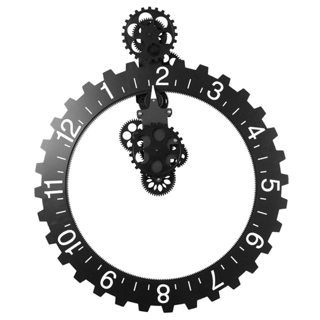 SM SunniMix 創造的 大きな 車輪 時計 DIY  ギア 機械的 壁時計 ウォールクロック B07FCM4ZN3