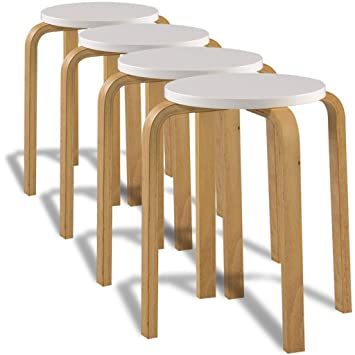 Festnight Stackable Stools Dining Stool Solid Bentwood Chair Set Of 4 White