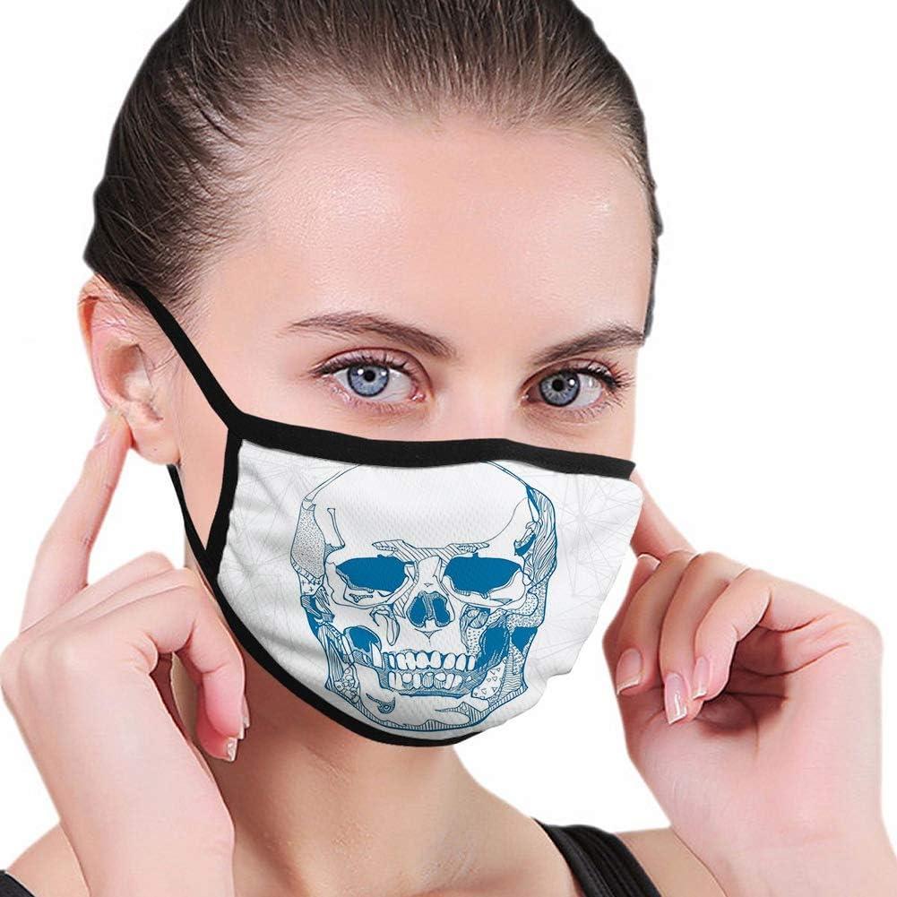 Face Nose Cover,Cráneo, Cráneo Humano Dibujado A Mano con Elementos De Ciencia Fondo Médico Tema Ilustración, Azul Blanco,17.5x12cm