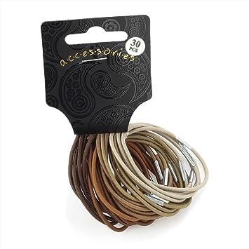 Set of 30 Brown Tones Thin Hair Elastics Bobbles Hair Bands  Amazon ... f789ce6022b