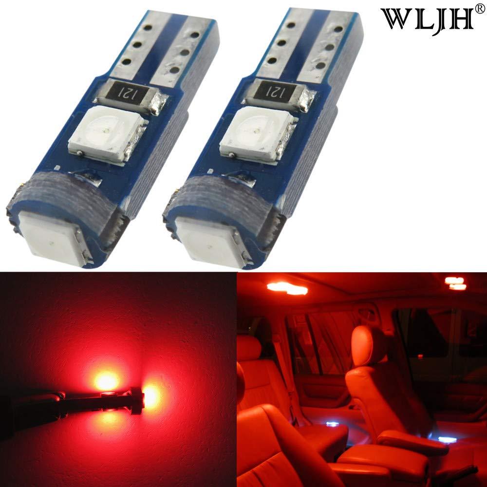 WLJH 10 pezzi T5 cuneo LED Canbus senza errori Car interior Dome lampadina di ricambio 2721 17 18 27, rosso