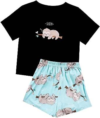Verdusa Women's Sleepwear Flamingo Print Tee Top and Shorts Pajama Set