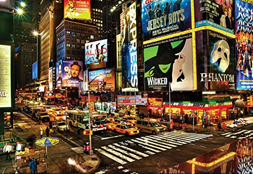 CHOIS Custom Wall Murals Wallpaper Desinger Home Art Decor WM1040 City of New York United States Broadway Night Lights Cars Billboards, 145-inch by 100-inch 4-panel Mural