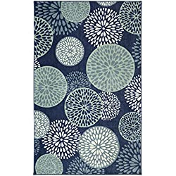 Mohawk Home Aurora Foliage Friends Floral Medallions Printed Area Rug, 7'6x10', Blue