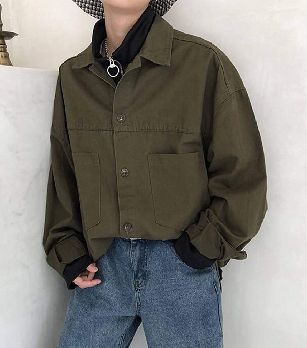 Sweatwater Mens Cargo Cotton Button Down Solid Color Top Long-Sleeve Shirt