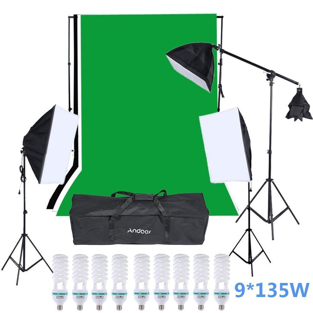Andoer Studio Video Lighting Kit includ 9Pcs135W Light Bulb + 3 Backdrop (Black/White/Green) with 2M Backdrop Stand+ Softbox with 4in1 bulbs socket +1.4M Cantilever Stick for Portraits/Product Photo by Andoer