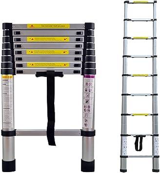 LARS360 2.6m Escalera Telescópica Multifunción Escalera extensible multiusos Plegable Escaleras Alto de llamas aluminio: Amazon.es: Bricolaje y herramientas