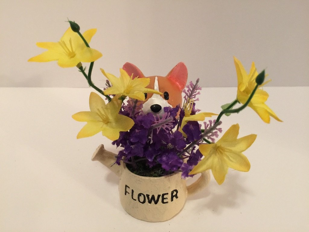 ANIMAL FUN - CORGI WITH FLOWER POT - YELLOW JASMINE AND PURPLE LILAC by Peters Partners Design