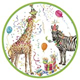 Caspari Entertaining with Party Animals Dinner Plates, Pack of 8
