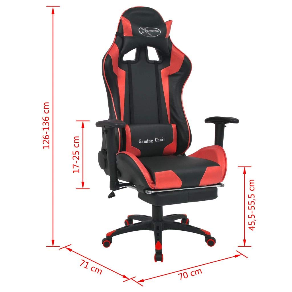 Festnight kontorsstol, lutbar, med fotstöd blå röd