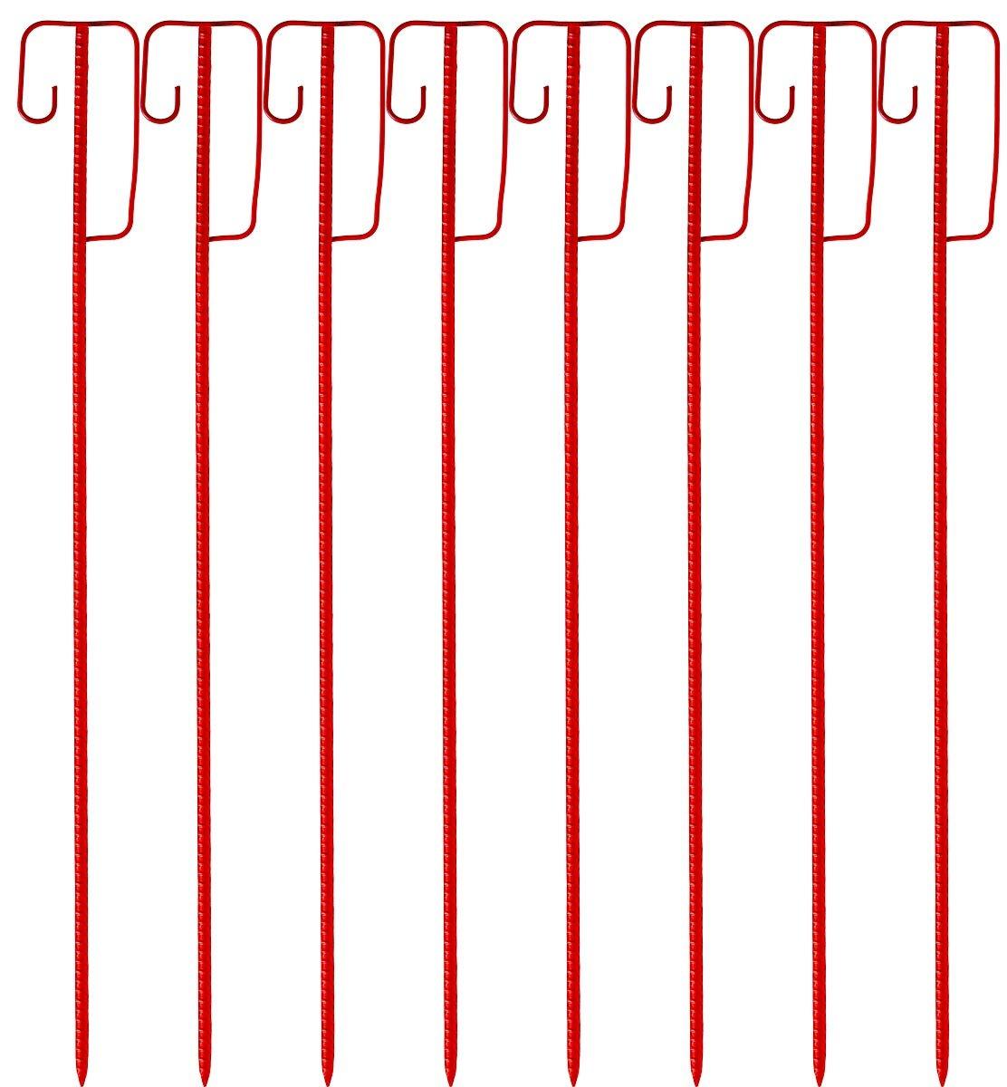 rot 2. Wahl Absperrleinenhalter rote Laterneneisen 1225 x 14mm mit UVV Sicherheitsb/ügel sehr einfache zweckm/ä/ßige Tauchlackierung 8 St/ück Set