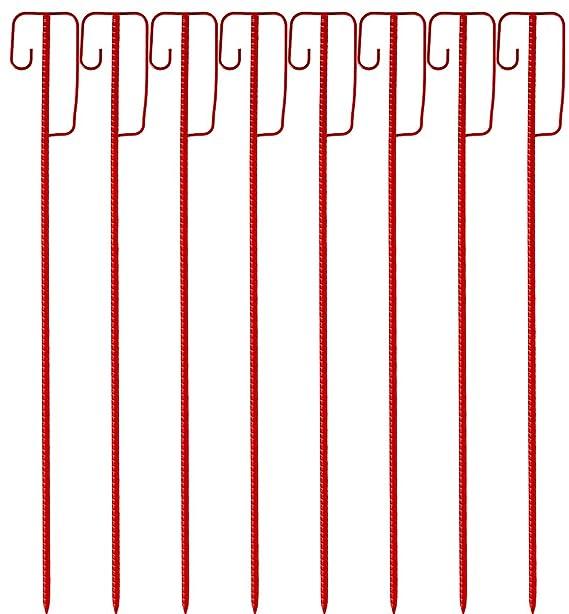 8 St/ück Set sehr einfache zweckm/ä/ßige Tauchlackierung rot 2. Wahl Absperrleinenhalter rote Laterneneisen 1225 x 14mm mit UVV Sicherheitsb/ügel