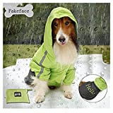 Fakeface Portable Rain Waterproof Foldable Hoodie Raincoat for Medium to Large Pet Dogs Rainy Days Coat Rainwear Poncho Night Reflecting Jacket Slicker Clothes (Green, XL)