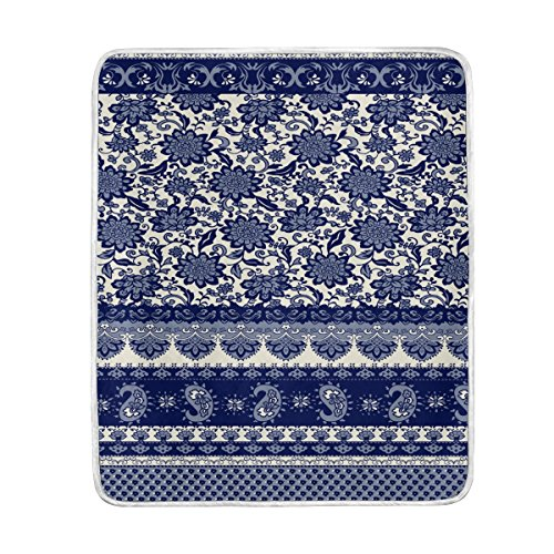 Fleece Blanket Super Soft Warm Fuzzy Anti-static Double-sides Reversible Lightweight Bed or Couch Sofa Blanket with Blue And White Porcelain Floral Shading Pattern Throw Blanket (50x60 in) (Stella Blanket Electric)