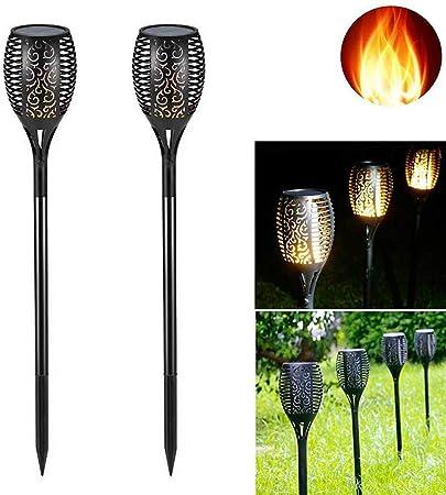 Augproveshak 2 Piezas Luz Solar LED para jardín, antorcha Solar, Luces solares a Prueba de Agua para senderos de jardín, iluminación de decoración de paisajes al Aire Libre: Amazon.es: Hogar