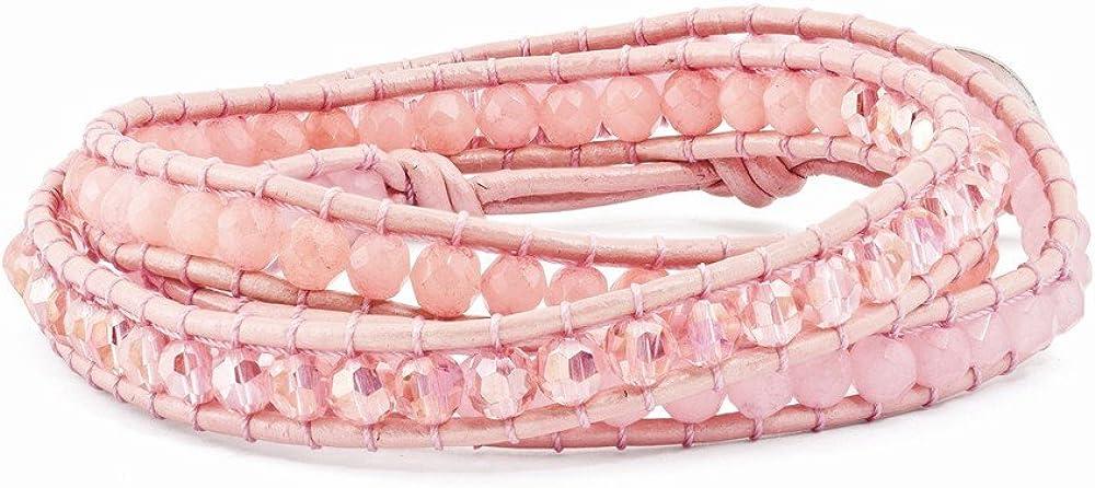 Diamond2Deal - Pulsera de Piel con Cristales de Cuarzo Rosa