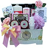 Art of Appreciation Gift Baskets Victorian Lace Gourmet Food and Spa Gift Basket Set with Clock