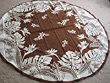 Kauhale Living Hawaiian Tropical Fabric Tablecloth (Brown) (70'' round)