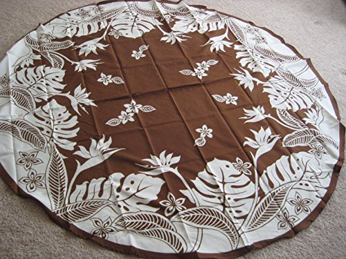 Kauhale Living Hawaiian Tropical Fabric Tablecloth (Brown) (70'' round) by Kauhale Living