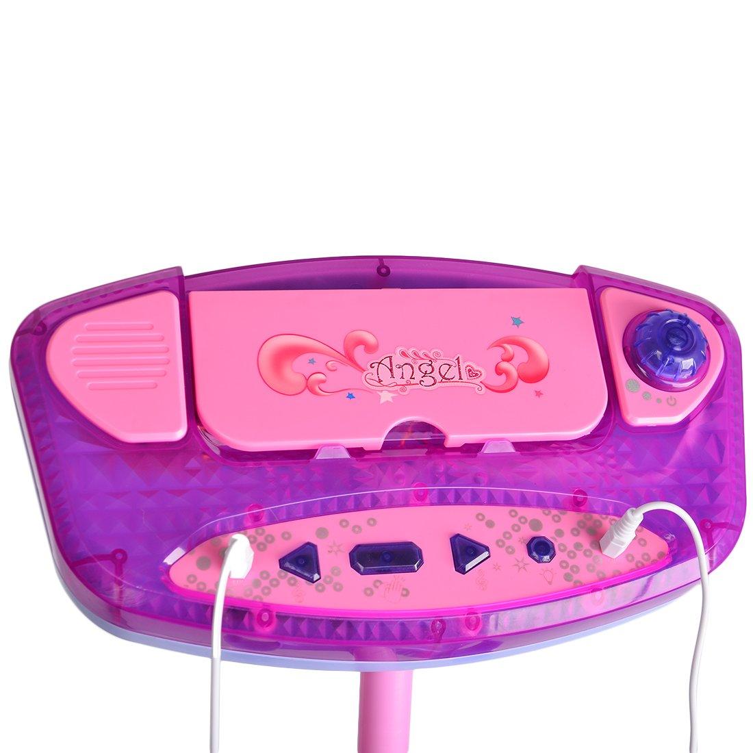 Tosbess Kids Karaoke Machine With 2 Microphones Adjustable Stand Elc Froggie Bubble Blower 139401 Music Play Set Blue