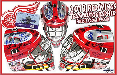 2013-2014-DETROIT-RED-WINGS-Team-Signed-FULL-SIZE-GOALIE-MASK-wCOA-Autographed-NHL-Helmets-and-Masks