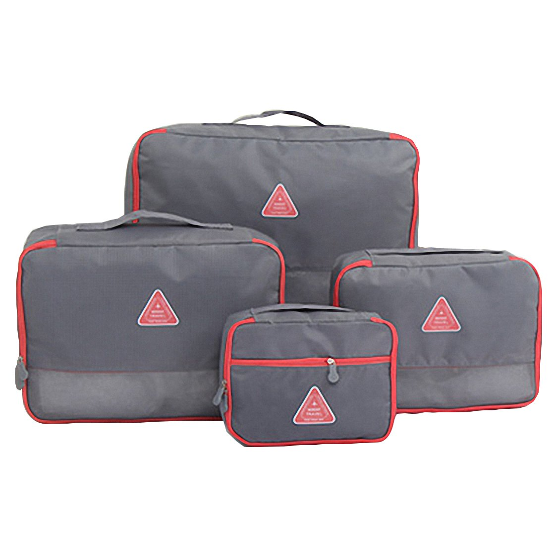 Travel Packing Organizers - Clothes Cubes Shoe Bags Laundry Pouches For Suitcase Luggage, Storage Organizer 4 Set Color Grey