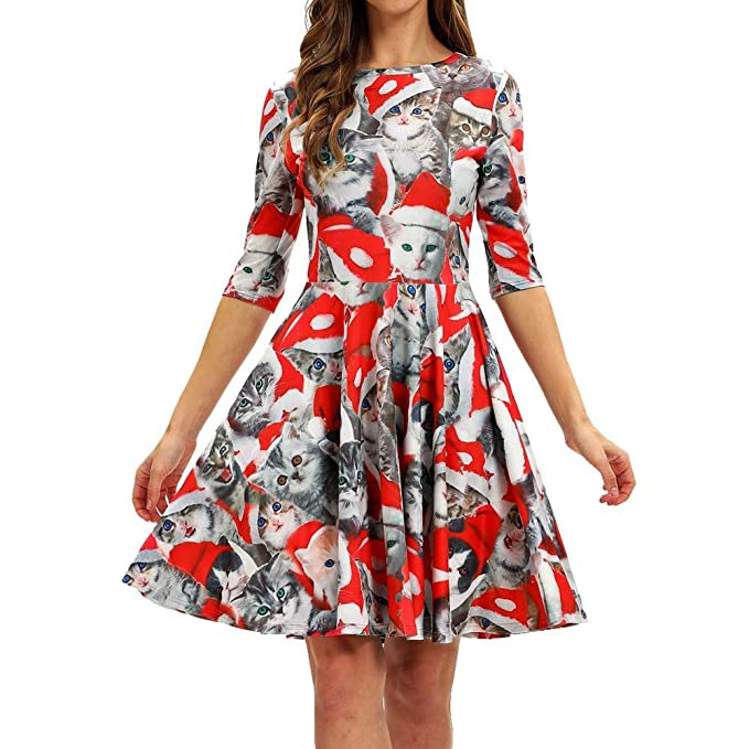 Christmas Series Dress-Women Fashion Casual Half Sleeve Xmas Printing Vintage Swing Mini Dress at Amazon Womens Clothing store: