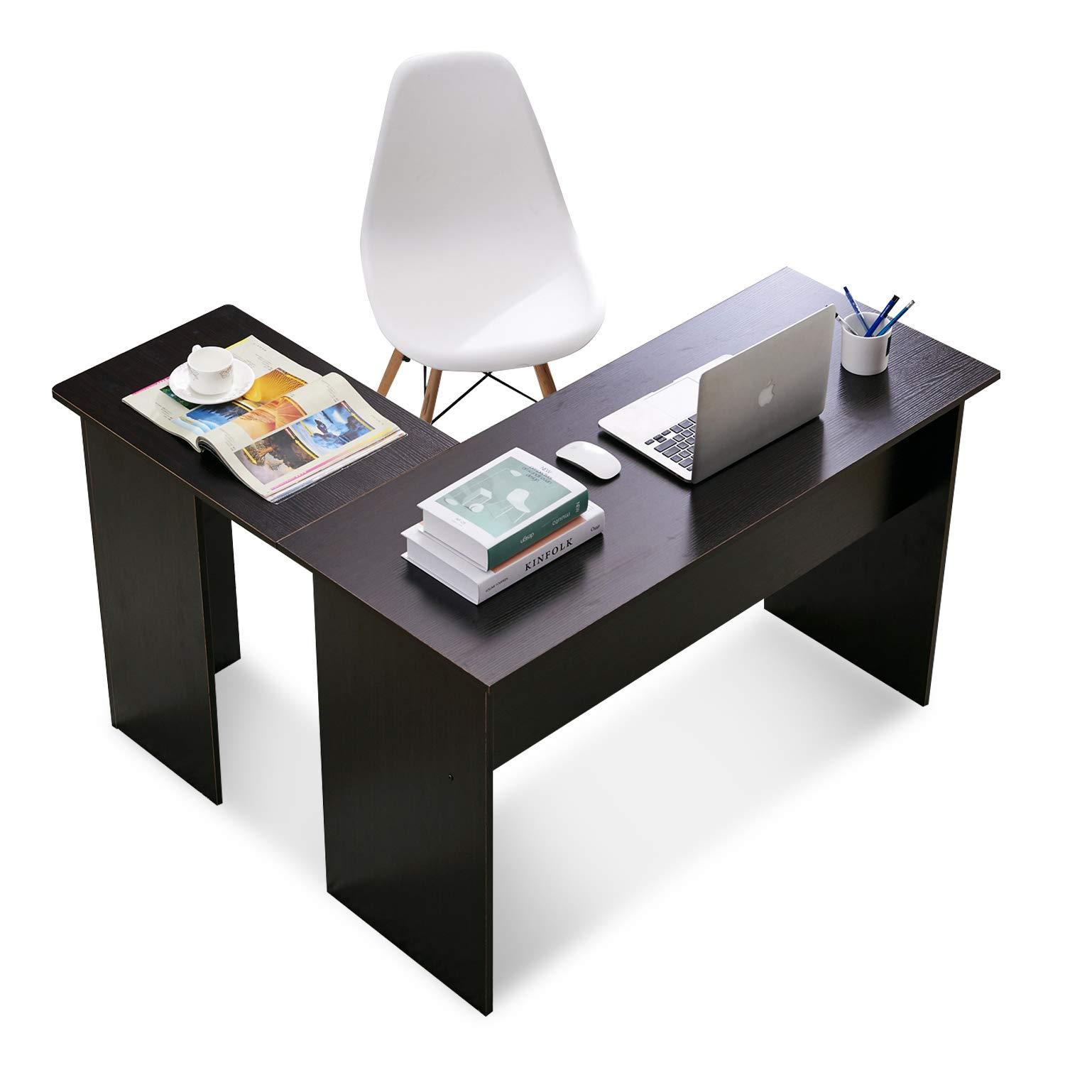 new style a8f26 06a54 Corner Desk Gaming Desk L-Shaped Desk Computer Desk for Home Office Small  Space Dark Brown