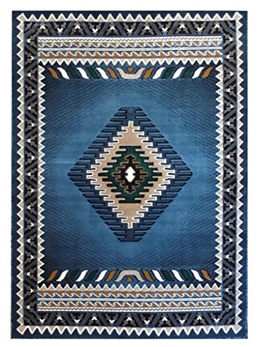 Kingdom Native American Rug Design 143 Blue (5 Feet X 7 Feet) (American Native Designs Geometric)