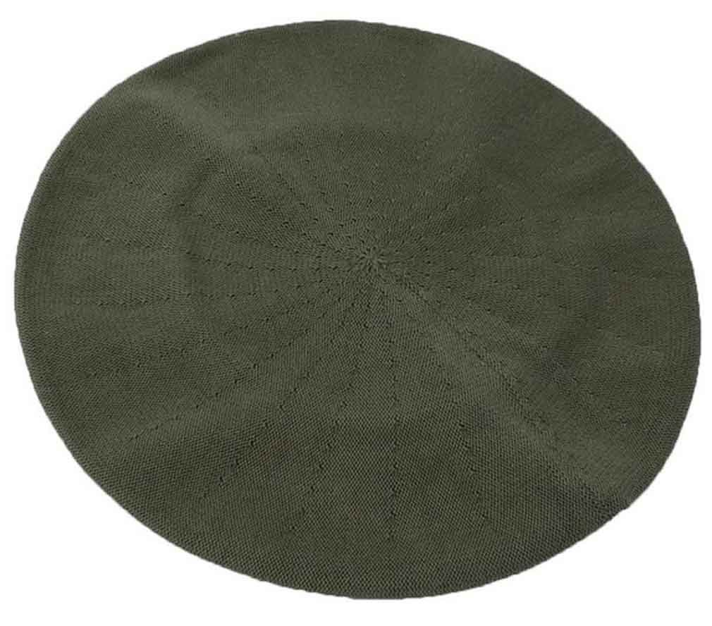 Parkhurst of Canada 11-1/2 Inch Cotton Knit Beret, Cargo Green