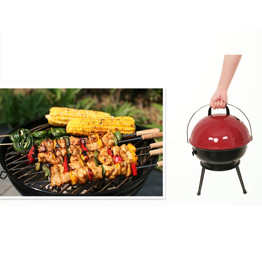 MEI XU Barbecue Grill BBQ Grill - American Car Portable Apple Stove Household Charcoal Grill Enamel Grilled Oven (Color : Black) by MEI XU (Image #5)