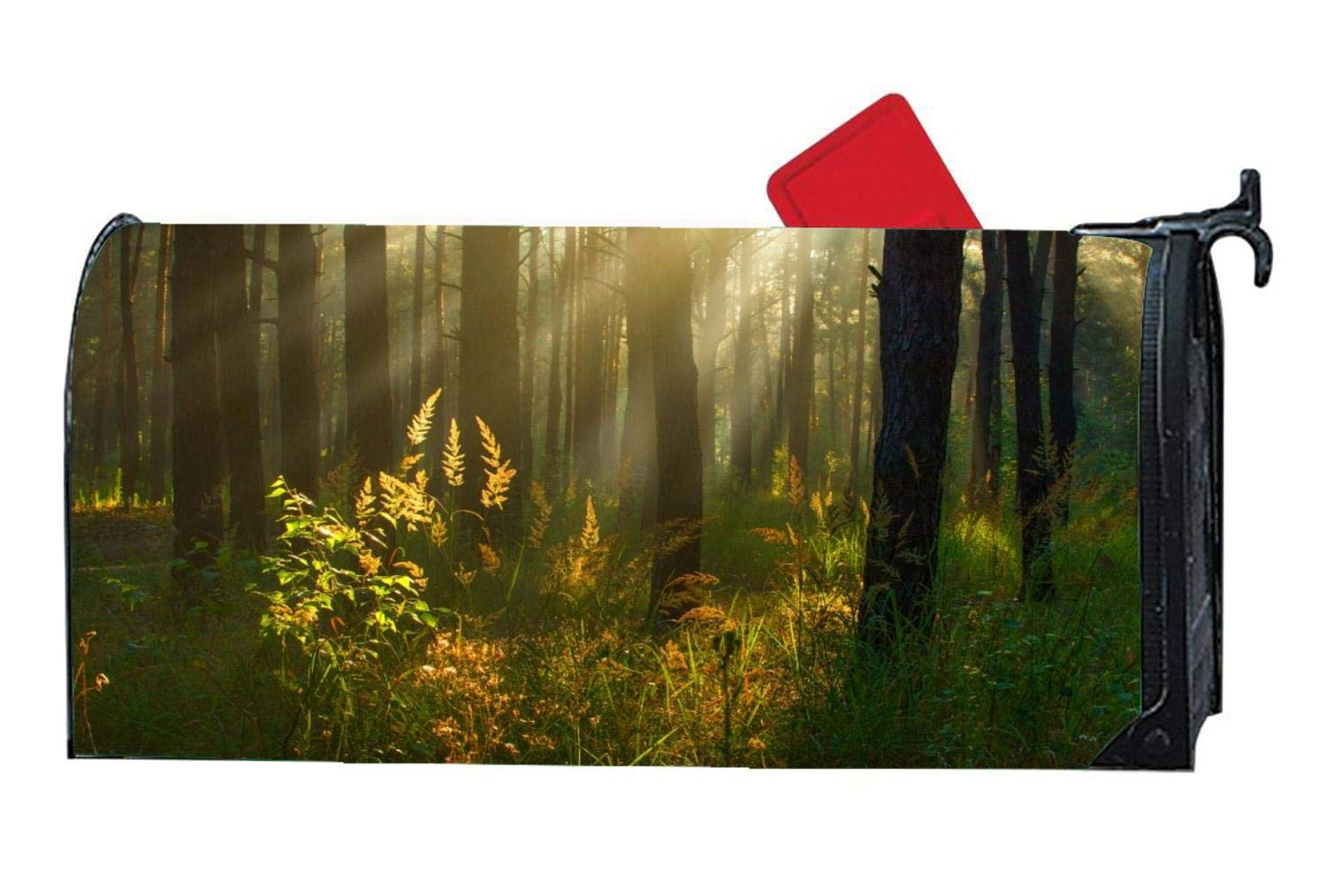 Magnetic Mailbox Cover, Decorative Vintage Vinyl Mailbox Wrap for Standard Size 6.5 x 19 inches - Forest Sunlight