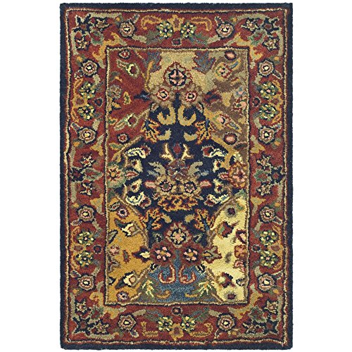 2' Square Magnet - Safavieh Heritage Collection HG911A Handcrafted Traditional Oriental Multi and Burgundy Wool Area Rug (2' x 3')