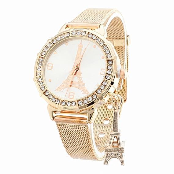 BLACK MAMUT Reloj Para Mujer de Extensible Color Plateado de Latón con Un  dije de Torre c2bcfab0a5c0