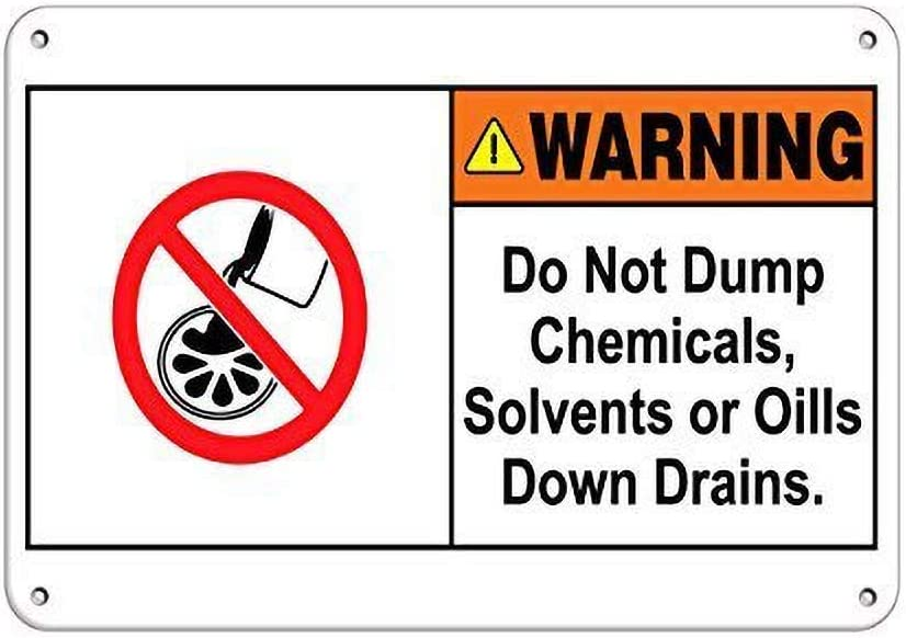 Kilburn Warning Do Not Volmp Chemicals, disolventes o aceites Down desagües Retro Creative Wall Decor Personality Trend Fondo Simple Style Pintura de hierro
