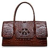 PIJUSHI Womens Top Handle Handbags and Purses Crocodile Bag (27006 brown)